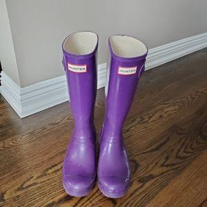 Hunter Rain Boots Purple Kids 5